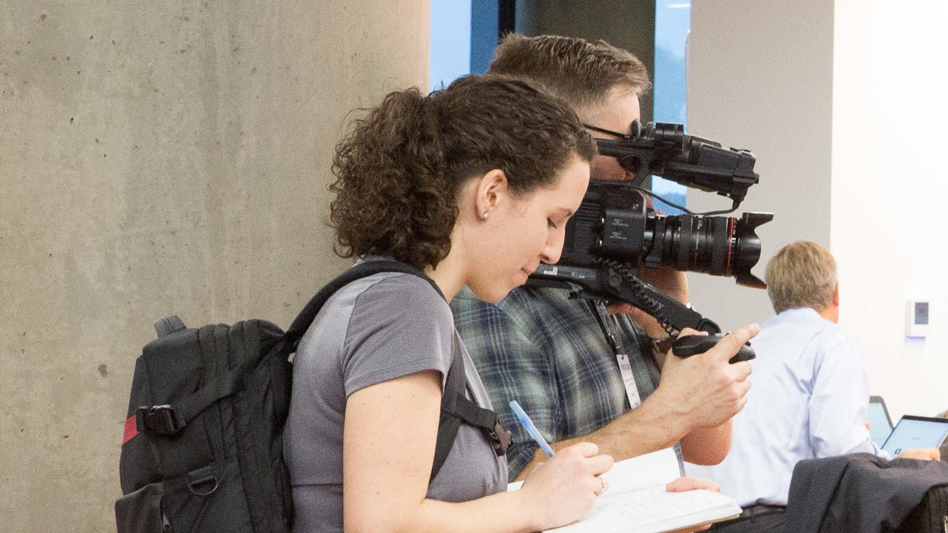 producer and camera operator filming