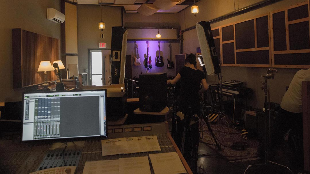 camera, lights and sound being set up for a video shoot at the Map Room in Portland, Oregon